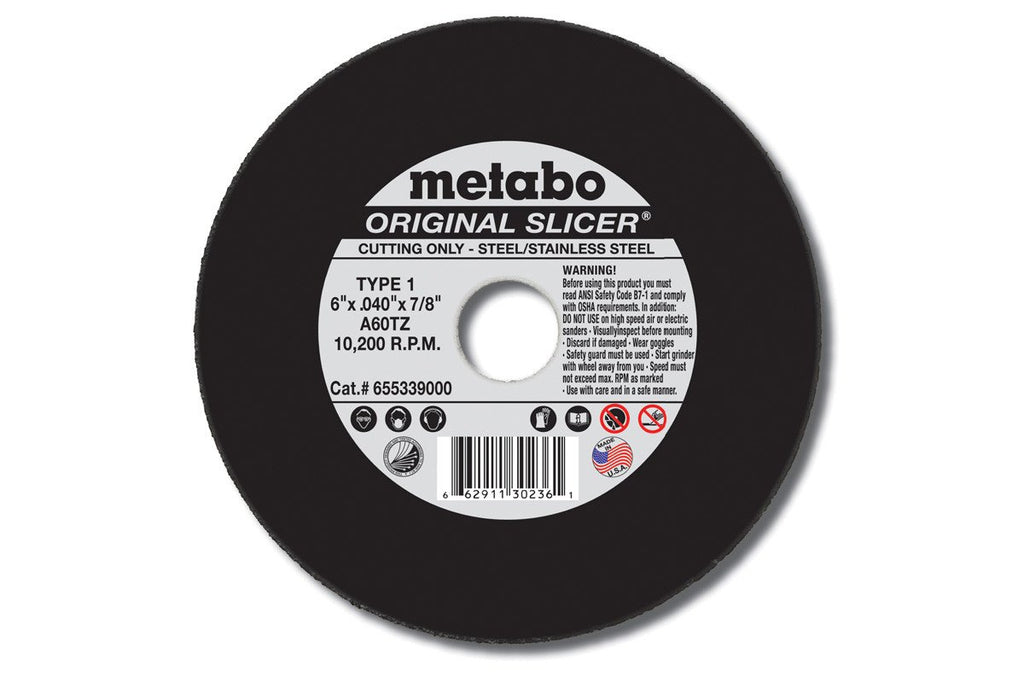 "Metabo Original Slicer 5""x.040""x7/8"" Cut-Off Wheel Type 1 A60TZ-ShopWeldingSupplies.com"