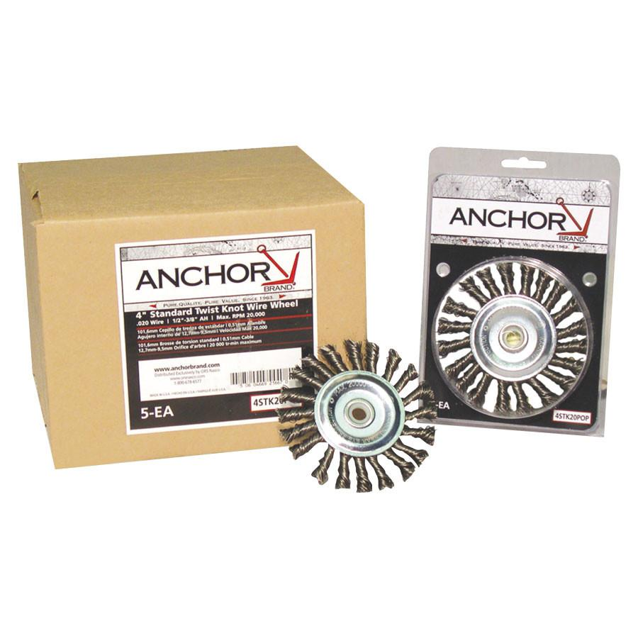 "Anchor 4S58S 4"" Stainless Steel Wire Knot Wheel Brush (1 brush)-ShopWeldingSupplies.com"