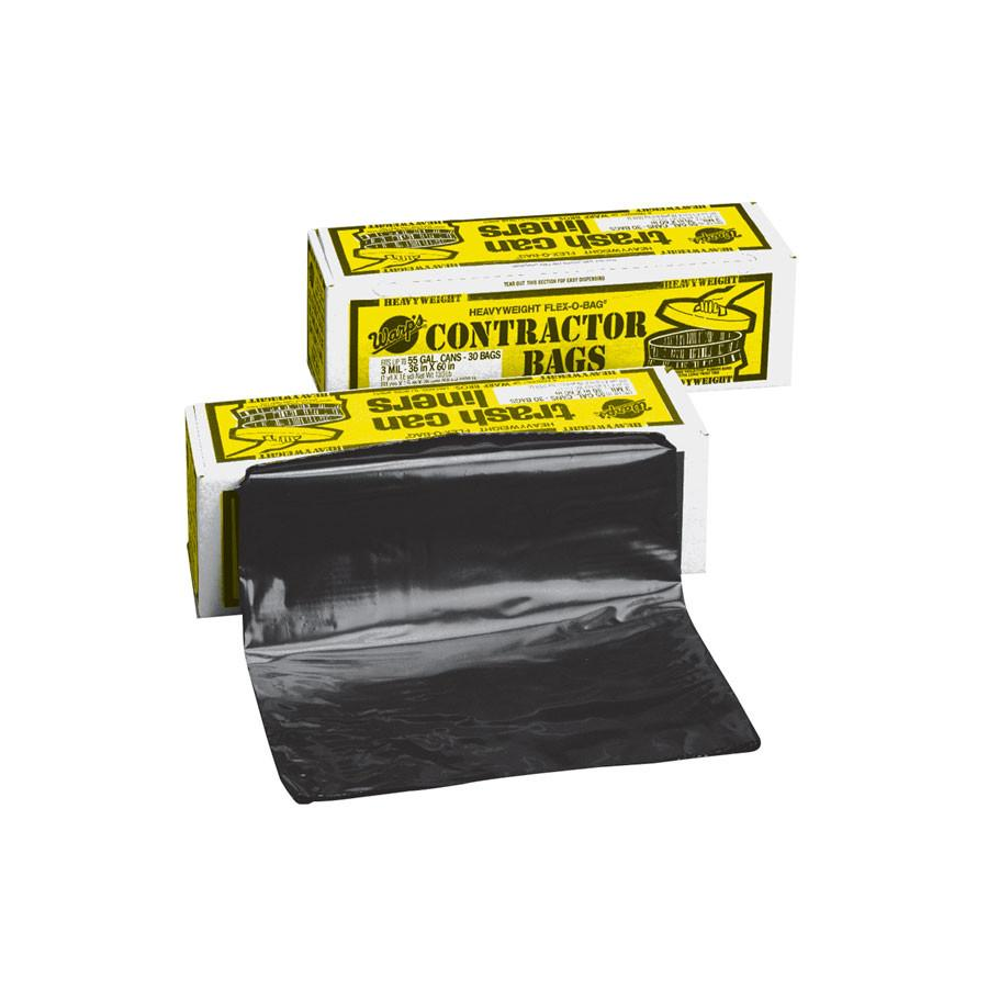 Warp's HB55-30 Heavyweight 3 MIL, 55 Gallon Contractor Trash Bags (1 BOX)-ShopWeldingSupplies.com