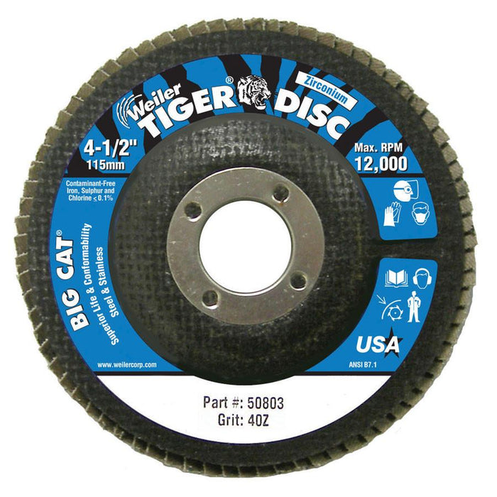 "Weiler 50803 Big Cat 4-1/2"" 40GR Premium High Density Flap Disc for Steel & Stainless (2/pack)"