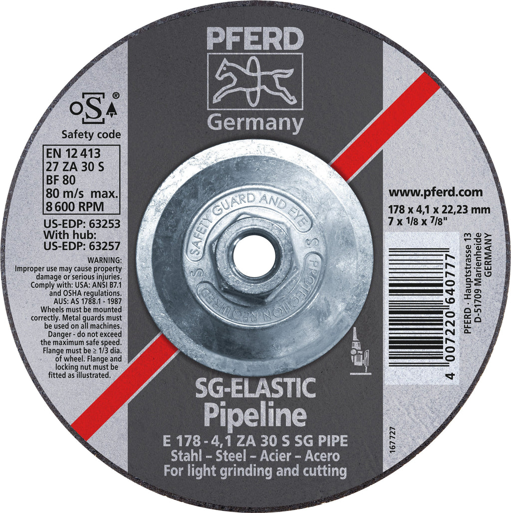 "Pferd 63257 SG Elastic Pipeline 7""x1/8""x5/8"" 11 Thread Cut-Off Wheel-ShopWeldingSupplies.com"
