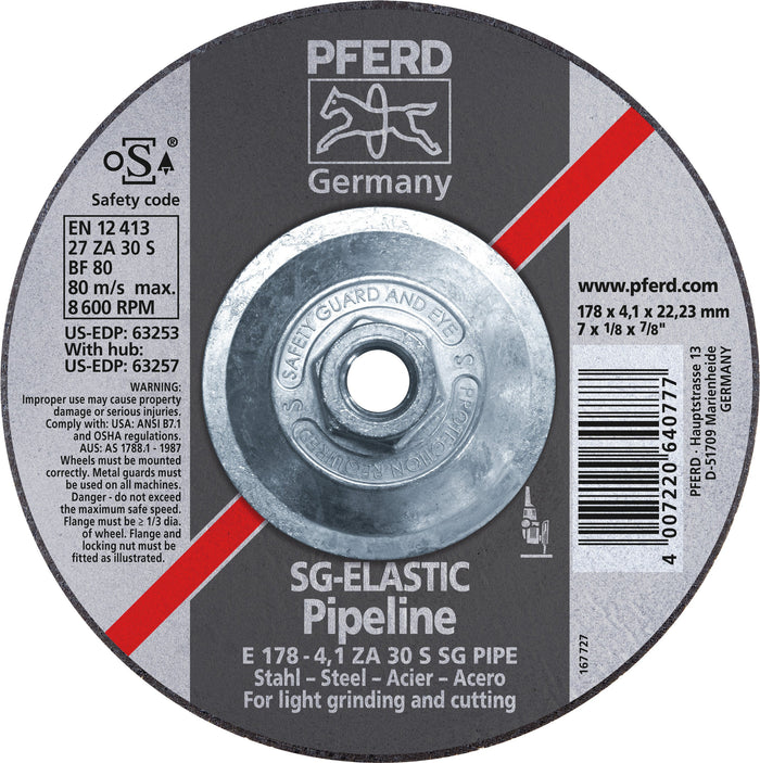 "Pferd 63257 SG Elastic Pipeline 7""x1/8""x5/8"" 11 Thread Cut-Off Wheel"
