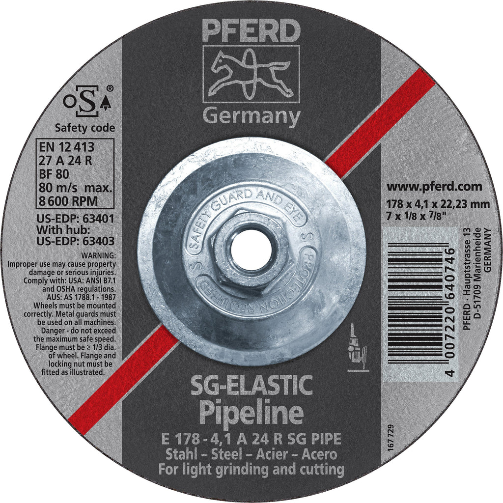 "Pferd 63403 SG Elastic Pipeline 7""x1/8""x5/8"" 11 Thread Cut-Off Wheel-ShopWeldingSupplies.com"