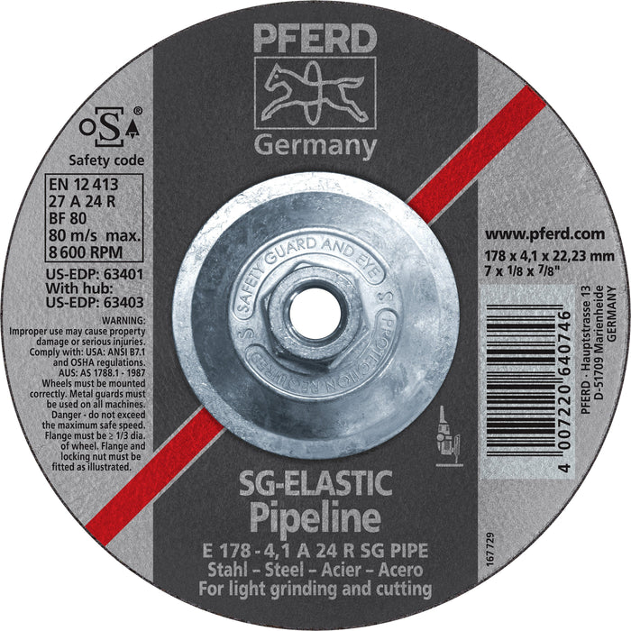 "Pferd 63403 SG Elastic Pipeline 7""x1/8""x5/8"" 11 Thread Cut-Off Wheel"