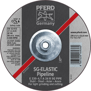 "Pferd 63404 SG Elastic Pipeline 9""x1/8""x5/8"" 11 Thread Cut-Off Wheel-ShopWeldingSupplies.com"