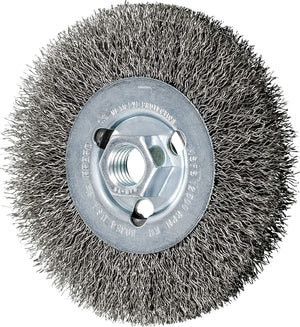"PFERD 80354 Crimped Wheel Brush, Stainless Steel Wire, 4-1/2"" Diameter, 5/8-11 Thread (12500 RPM)-ShopWeldingSupplies.com"