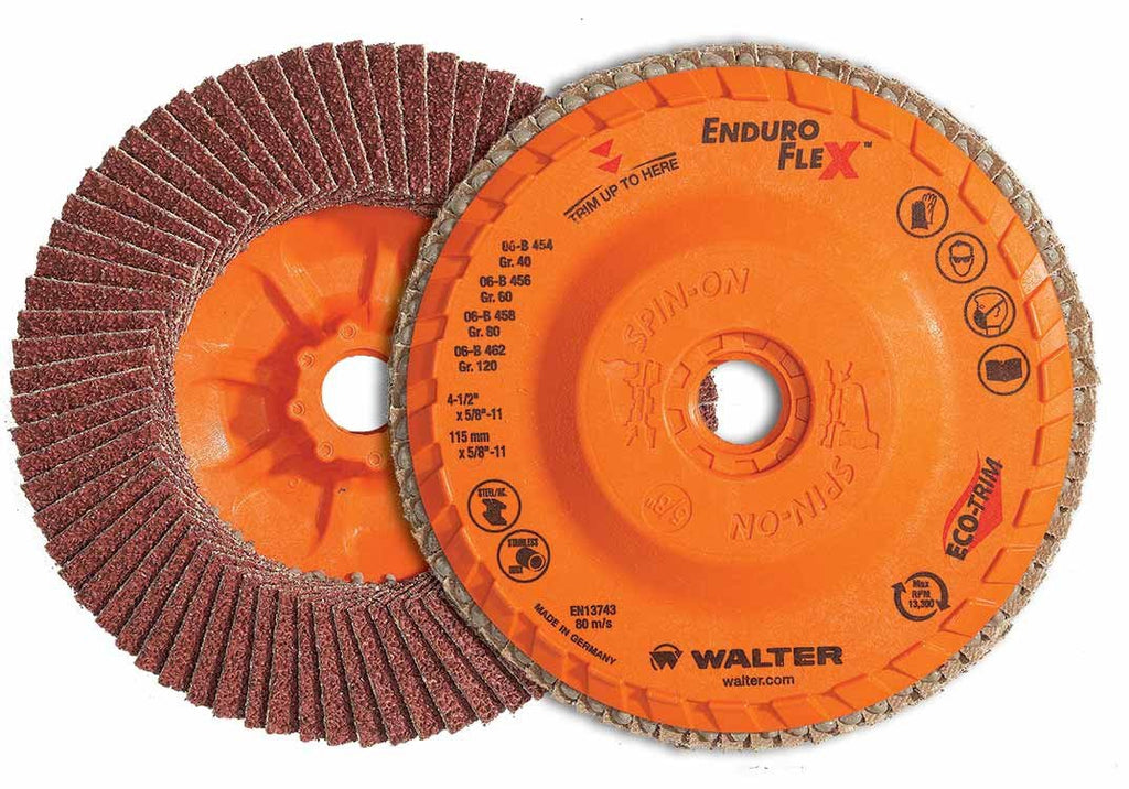 "Walter 06B454 ENDURO-FLEX™ 4-1/2""x5/8""-11 Thread Flap Disc 40GR-ShopWeldingSupplies.com"