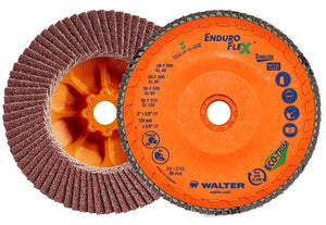 "Walter 06-F 458 ENDURO-FLEX Stainless™ 4-1/2""x5/8""-11 Thread Flap Disc 80GR-ShopWeldingSupplies.com"