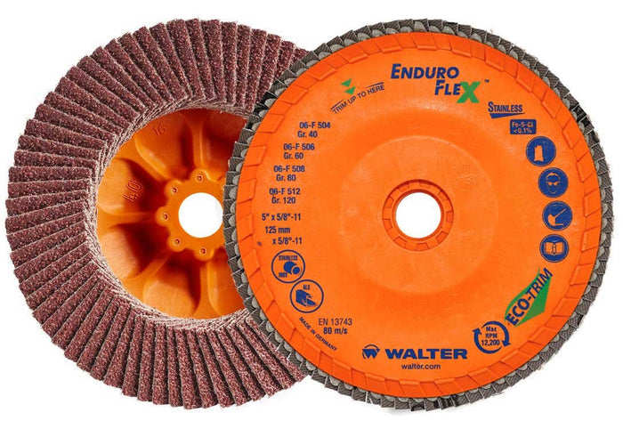 "Walter 06-F 458 ENDURO-FLEX Stainless™ 4-1/2""x5/8""-11 Thread Flap Disc 80GR"