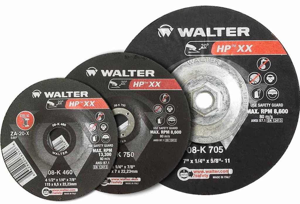 "Walter 08-K 450 HP XX™ 4-1/2""x1/4""x5/8""-11 Thread Grinding Wheel-ShopWeldingSupplies.com"