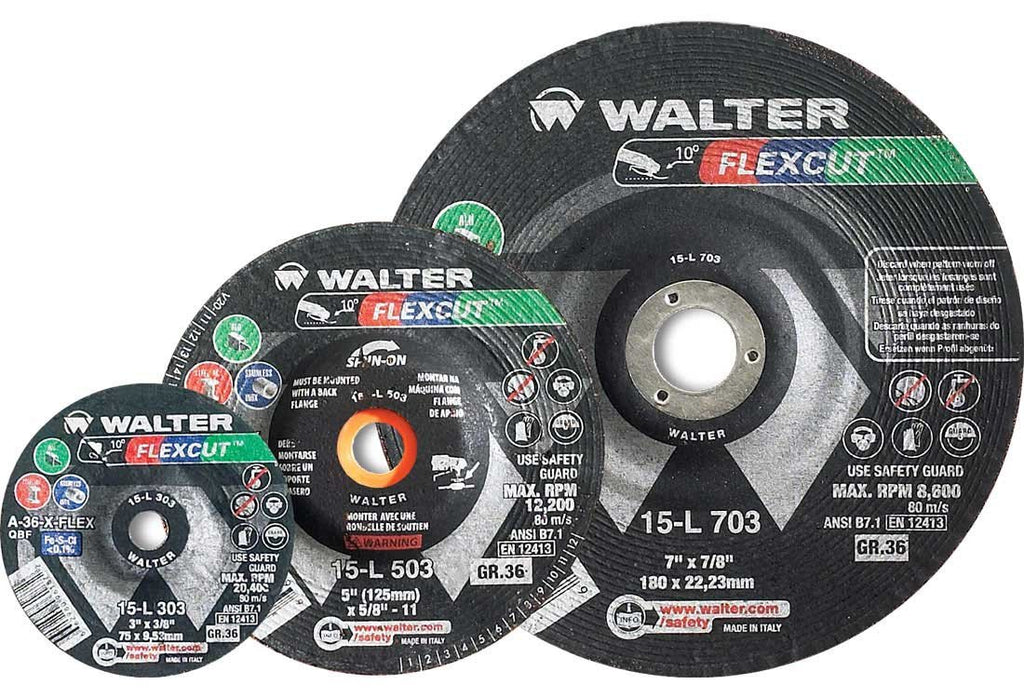 "Walter 15-L 456 Flexcut 4-1/2""x5/8""-11 Thread Grinding Wheel (Pack of 25)-ShopWeldingSupplies.com"