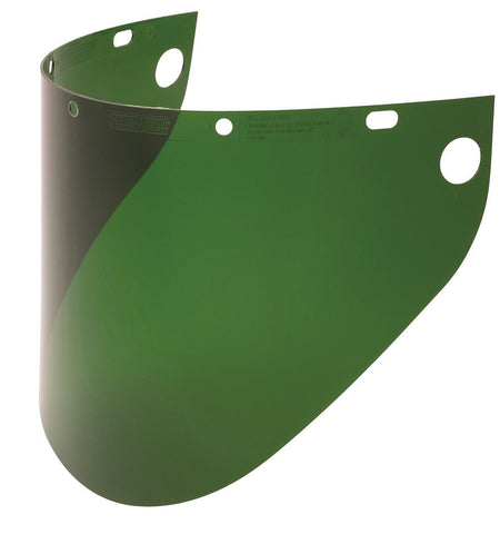"Fibre-Metal 4199 .060"" 9-3/4x19"" Dark Green Extended View Faceshield Window-ShopWeldingSupplies.com"