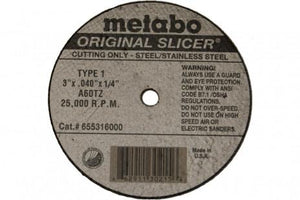 "Metabo Original Slicer 4""x.040""x3/8"" Cut-Off Wheel Type 1 A60TZ-ShopWeldingSupplies.com"
