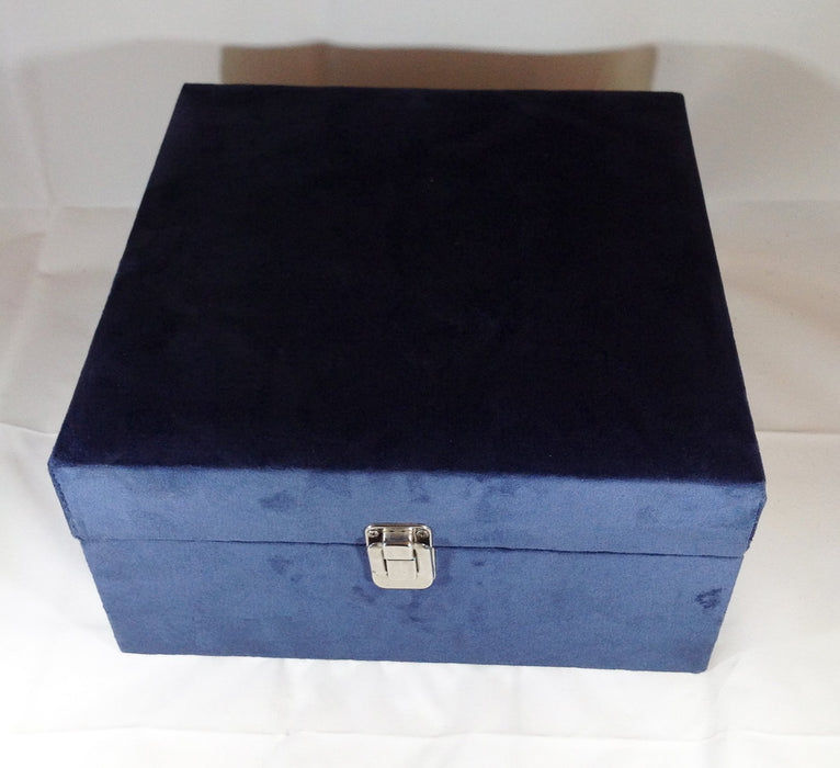 0 MARLIEBOX Gentlemen's Blue Suede Cigar Kit