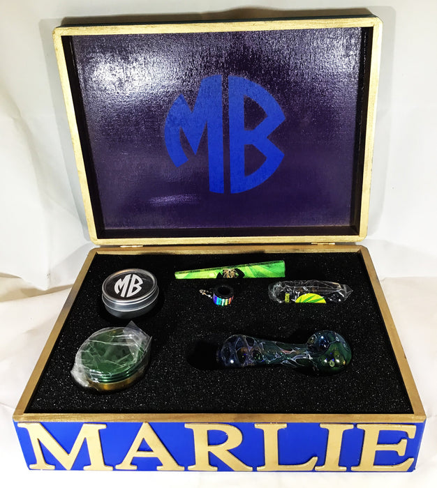 MARLIEBOX UPSCALE HERBAL ACCESSORY KITS MB PURPLE AND BLUE FLAT HERBAL ACCESSORY KIT