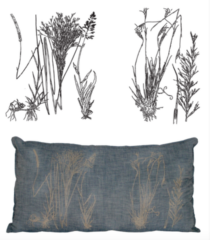 Sketch of grasses and resulting cushion