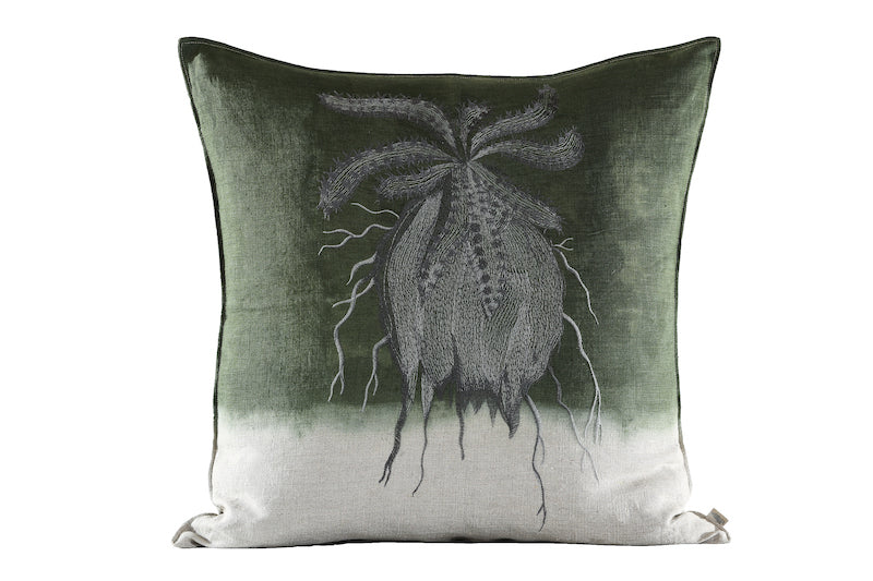 Embroidered Caterpillar Euphorbia Cushion