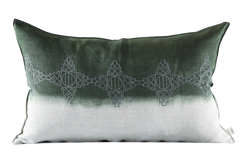 Embroidered Diamonds Cushion Charcoal on Stone