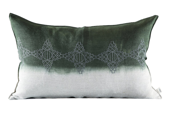 Embroidered Diamonds Cushion Charcoal on Stone, Dipped