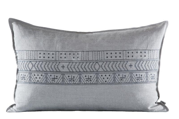 Embroidered Mr B Cushion Charcoal on Stone, Plain