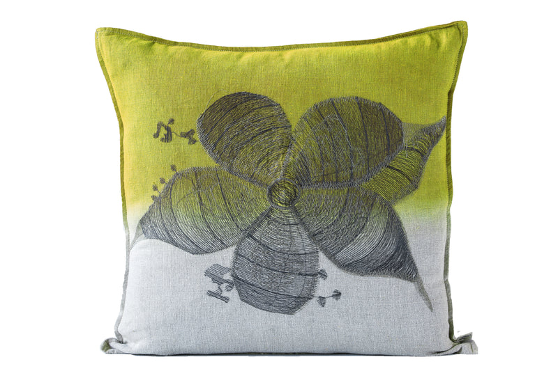 Stapelia Cushion, Embroidered and Dyed