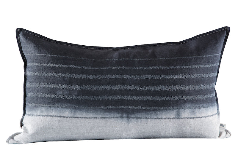 Embroidered Stripe Cushion Charcoal on Stone