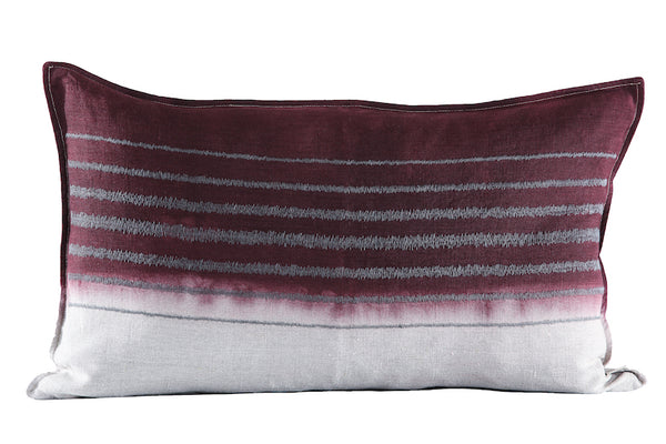 Embroidered Stripe Cushion Charcoal on Stone, Dipped