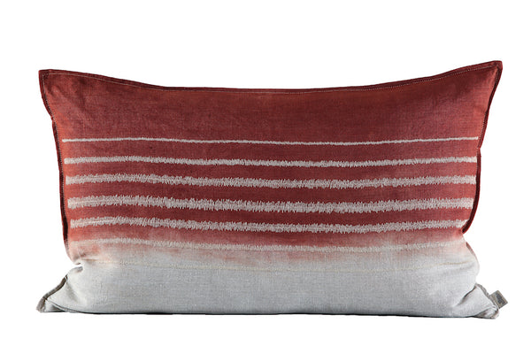 Embroidered Stripe Cushion Stone on Stone