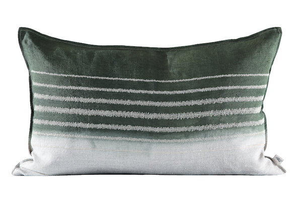Embroidered Stripe Cushion Stone on Stone, Dipped