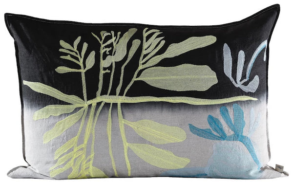 Yellow Leaf Cushion, Embroidered