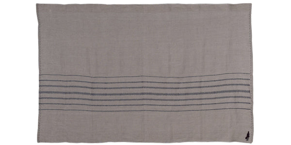 Stripe Throw Charcoal on Stone, Plain