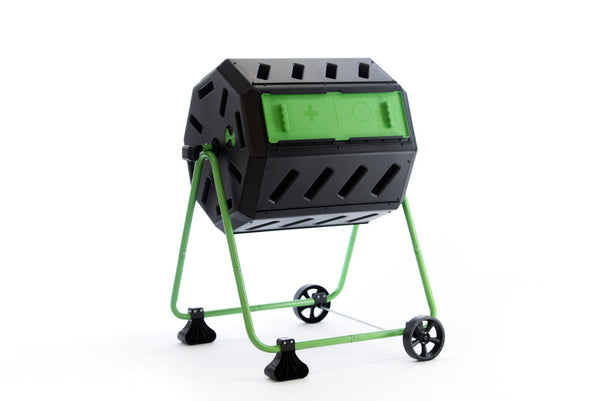 HOTFROG Mobile Dual Chamber Tumbling Composter with Wheel Kit