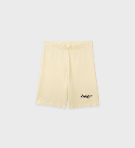 80s Fitness Biker Shorts - Cream Puff
