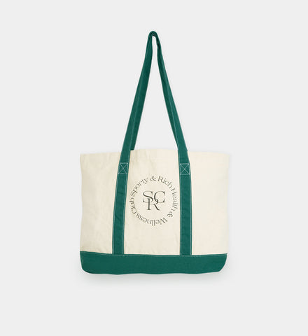 Two Toned Tote Bag - Natural/Forest Green