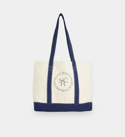 Two Toned Tote Bag - Natural/Navy Blue