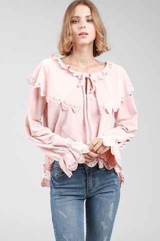 Blush colored velvet top