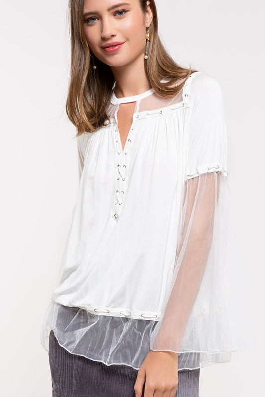 Ivory top with sheer sleeves
