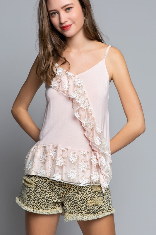 Lace adjustable strap top with embroidered floral lace ruffle trim - Southern Style and Stash A Specialty Boutique