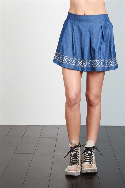 Skirt with XO embroidery