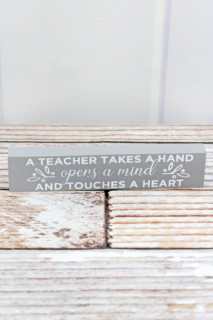 """Opens A Mind"" Teacher Wood Block Sign - Southern Style and Stash A Specialty Boutique"