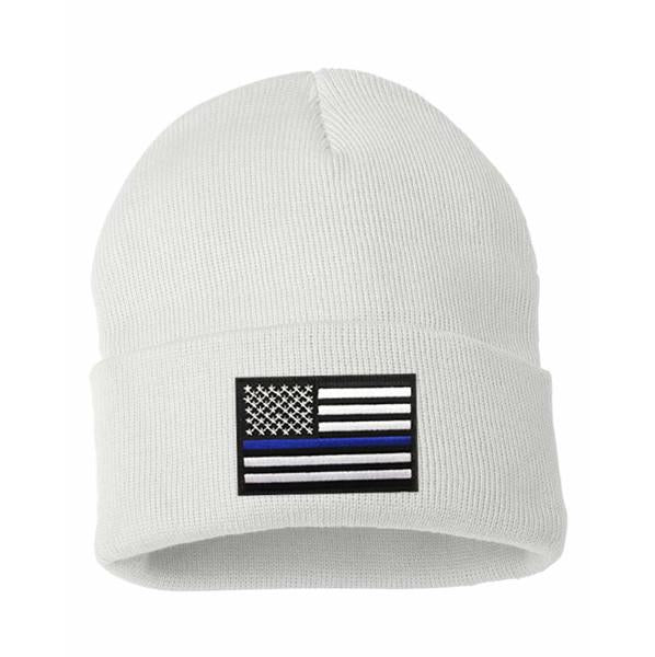 THIN BLUE LINE FLAG EMBROIDERED BEANIE