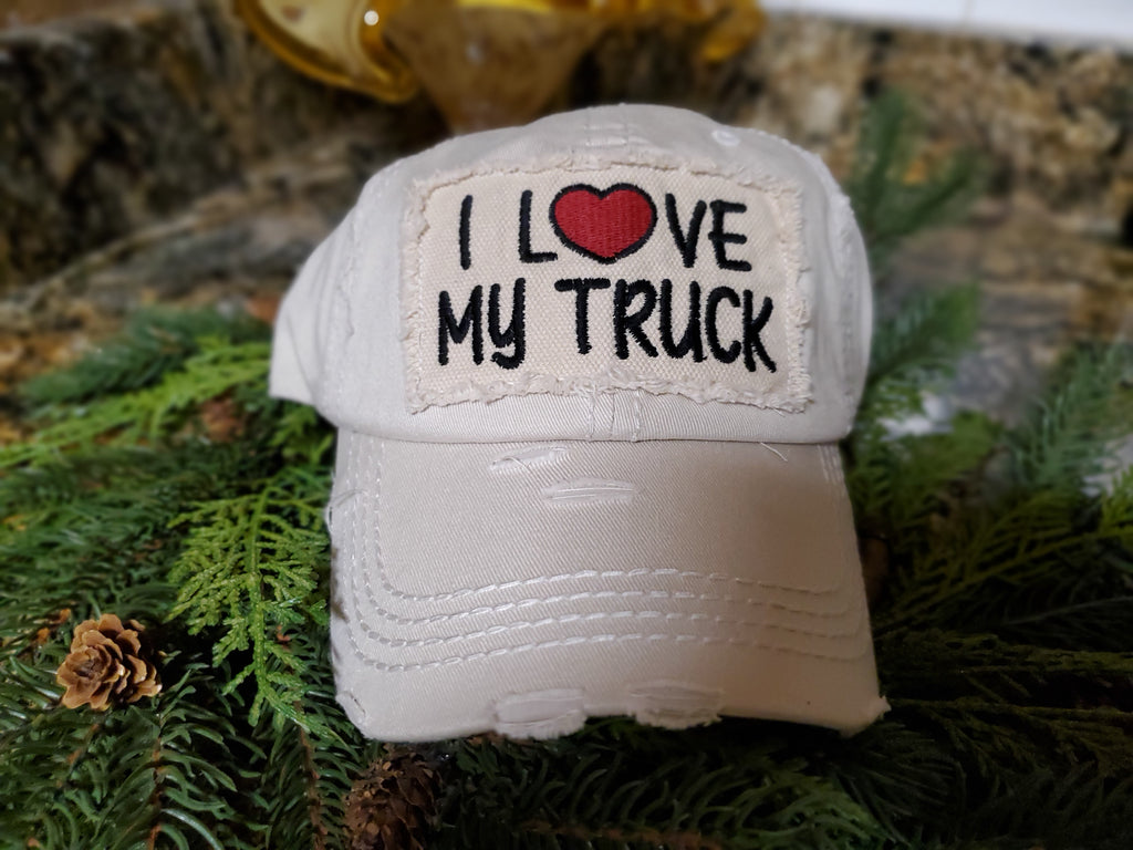 """I Love My Truck"" baseball embroidered vintage distressed baseball cap. - Southern Style and Stash A Specialty Boutique"