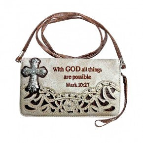 Spiritual Bible Verse Floral Embroidery Trifold Crossbody Wallet  Beige or Brown - Southern Style and Stash A Specialty Boutique