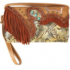 Multi Functional Western Fringe Tooling Trifold Clutch Crossbody Wallet-Tan - Southern Style and Stash A Specialty Boutique