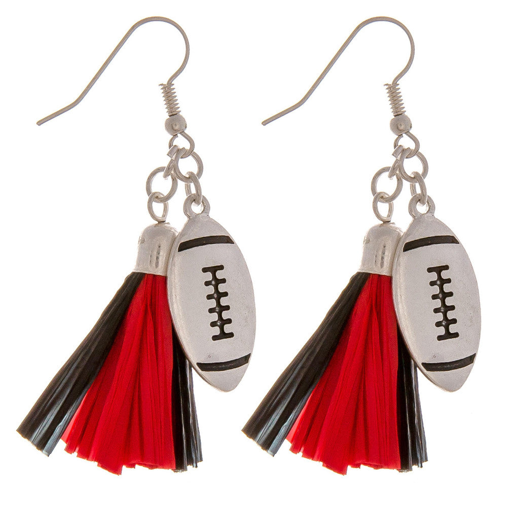 Red/Black football earrings