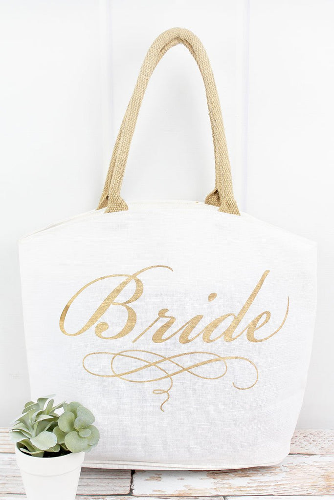 Bride White With Gold 'Bride' Arch Top Jute Tote - Southern Style and Stash A Specialty Boutique