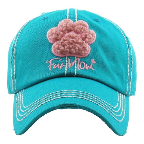"""Paw-print Fur Mom"" embroidered, vintage style ball cap with washed-look details/Turquoise - Southern Style and Stash A Specialty Boutique"