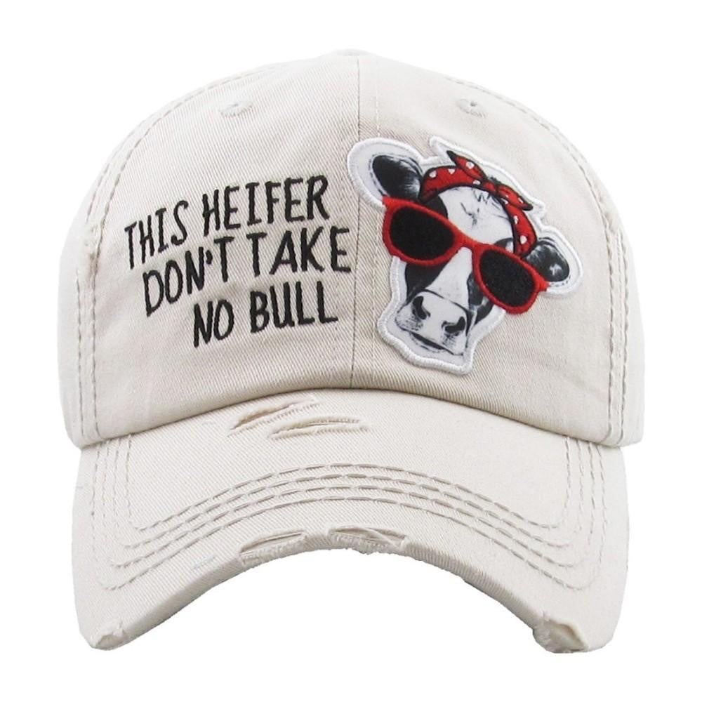 """This Heifer Don't Take No Bull"" embroidered, vintage style ball cap with washed-look - Southern Style and Stash A Specialty Boutique"