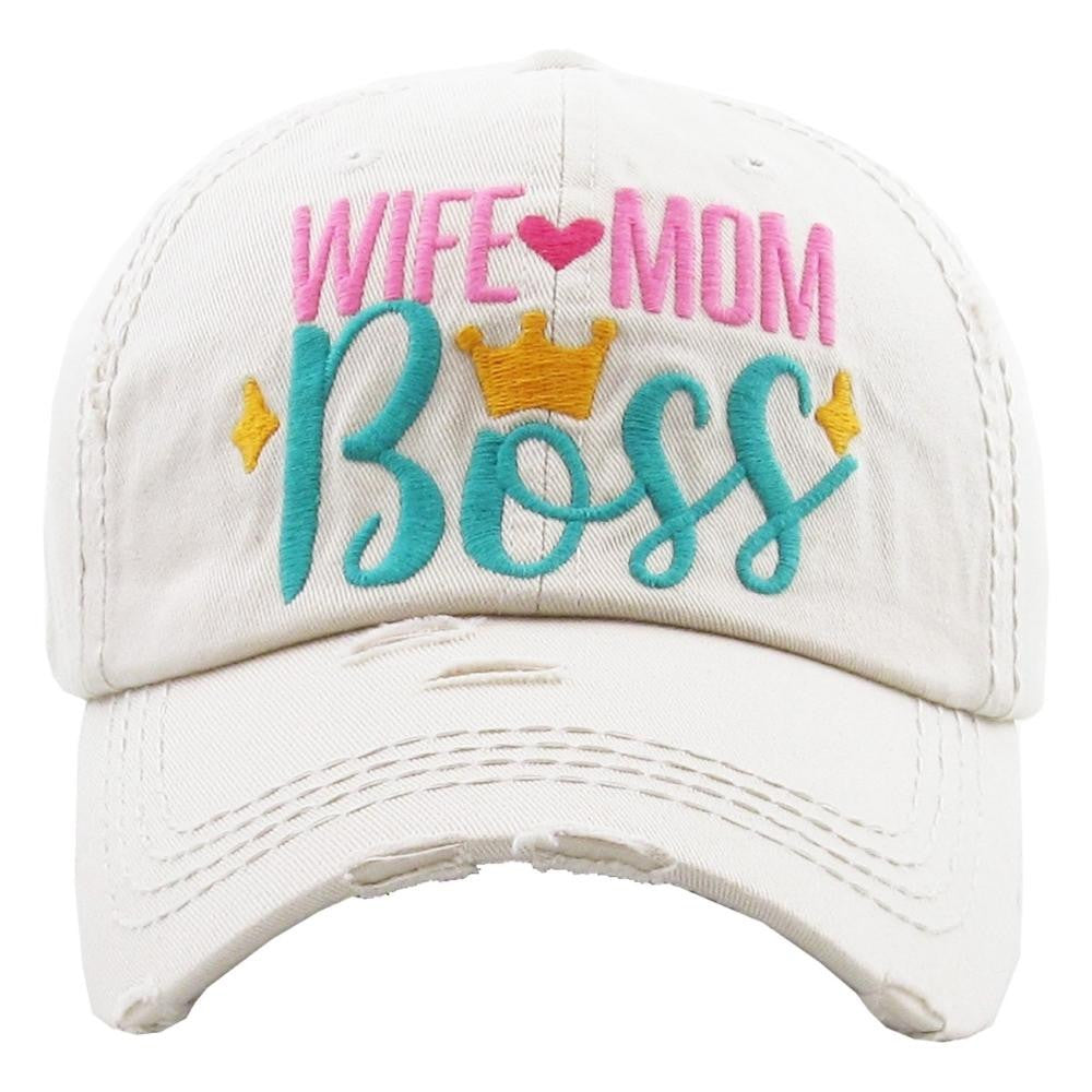 "Vintage, distressed baseball cap featuring ""Wife Mom Boss"" embroidered details - Southern Style and Stash A Specialty Boutique"