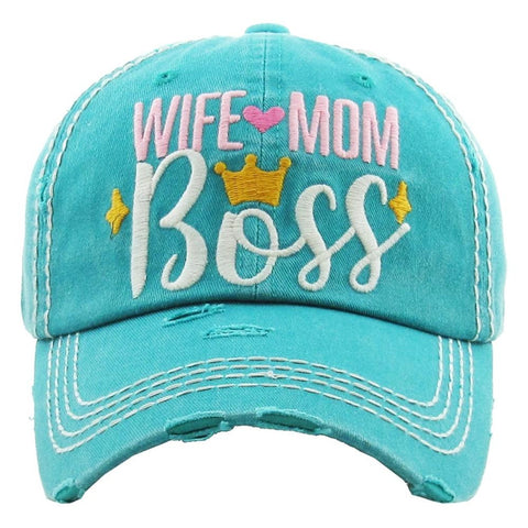 "Vintage, distressed baseball cap featuring ""Wife Mom Boss"" embroidered details. - Southern Style and Stash A Specialty Boutique"